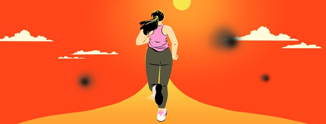 A woman is running along a path heading toward the sun. Black blurry spots indicate blind spots.