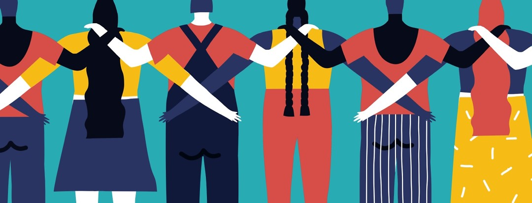 People stand in a line with arms wrapped around each other.