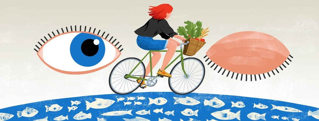 A young woman rides her bicycle by a pair of eyes - one closed, one opened - her bicycle basket is fulled with vegetables, fruits, wheat, healthy foods, and fish swim underneath her.