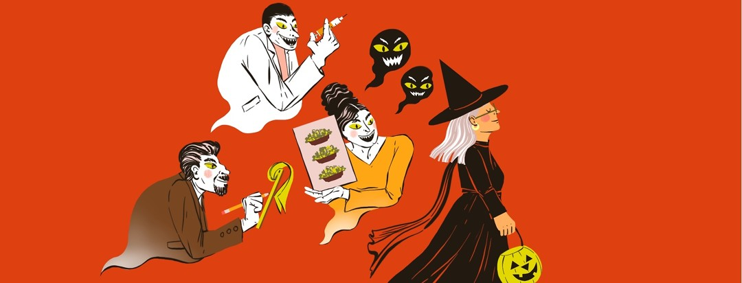 A woman wearing a witch costume and carrying a jack-o-lantern candy bucket walks away confidently from demons (one carrying a syringe, one showing a meal plan of only salads, one as a creepy psychiatrist) floating behind her.