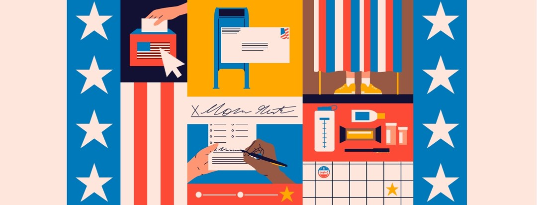 A variety of scenes of how to vote, how to assistance if you need help voting, how to make sure your vote counts, etc. among stars and stripes.