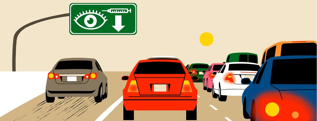 Cars on the right lanes are stuck in a traffic jam, while a lone car in a separate lane on the left drives forward swiftly toward a sign over the lane that shows an eye, a syringe, and an arrow pointing down.