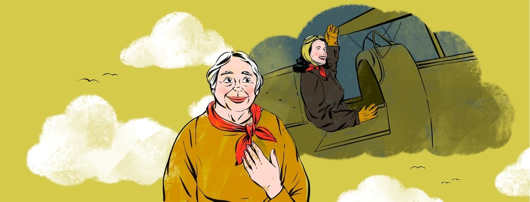 An older woman lightly touching a red scarf around her neck looks up where behind her a younger woman piloting a war plane waves and is wearing the same red scarf around her neck. The image of the younger woman is in the shape of a cloud, suggesting that she is a memory.