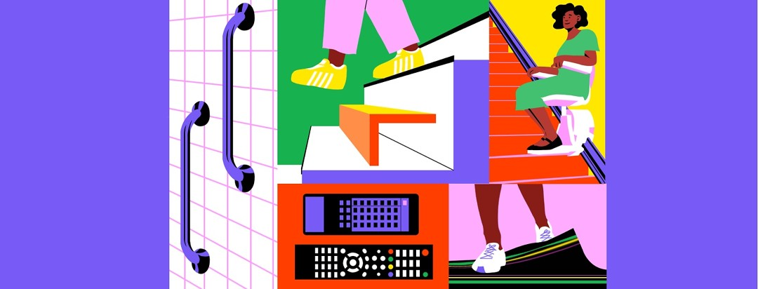 Collage featuring Black woman sitting on stairs chair lift, remote controls, bathroom handles, sneakers on foot floor mat.