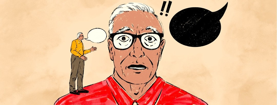 A distressed-looking older man has a black speech bubble on one side of his head and a small, calm version of himself on the other, calmly speaking into the ear of the distressed version.