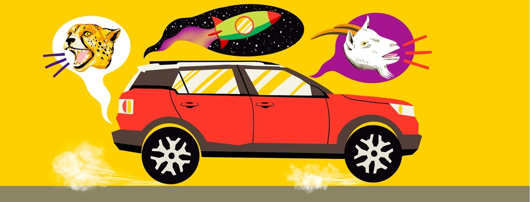 A car rumbles down a road with three speech bubbles emitting from it: one with a cheetah roaring, another with a spaceship taking off in space, and another with a goat bleating.