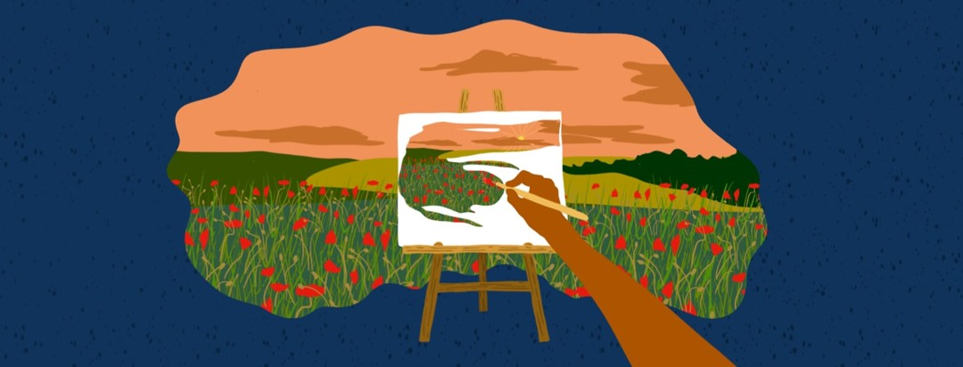 Arm of person painting on a canvas on an easel with a poppy filled landscape scene in the background