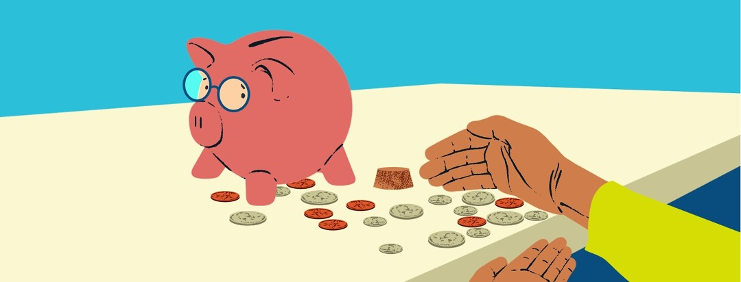 A piggy bank wearing glasses and a concerned expression is emptied and watches as hands scoop up the remaining coins.