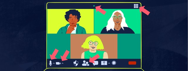 Three woman are on a Zoom video call. Red arrows point to specific icons on the screen.