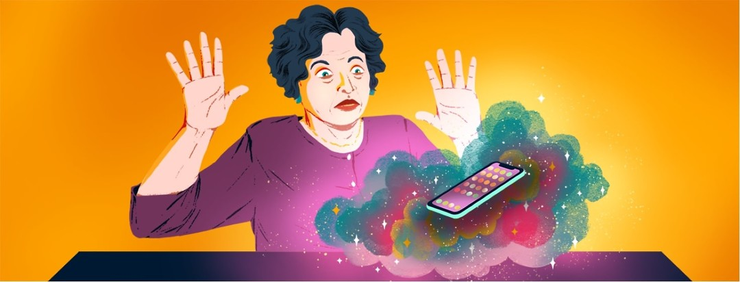 A woman looking bewildered holds her hands up and backs away from a cell phone that is floating in a magical, colorful cloud.