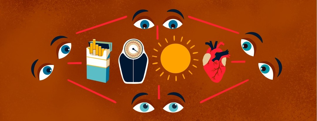 A pack of cigarettes, a weight scale, a sun, and a heart are connected to and surrounded by 4 pairs of worried-looking eyes.