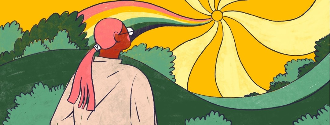 A woman gazes out across a landscape at a sun with wavy rays and one of them in rainbow colors.