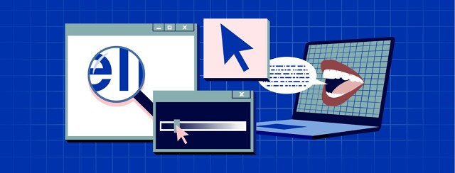A variety of computer icons and Microsoft windows are open, with text magnified and and a contrast adjustment bar. A laptop has a mouth on the screen, reading text aloud, and a mouse cursor is enlarged.