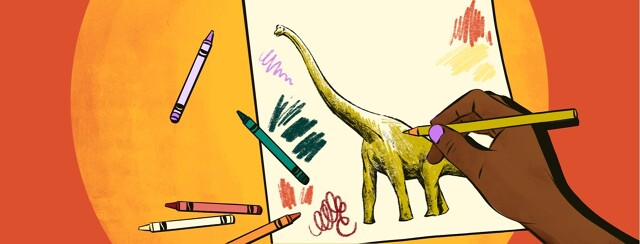 A hand draws a dinosaur on a piece of paper. Around it are crayons and crayon scribble marks on the page.