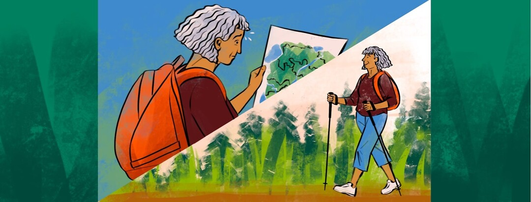 The same woman wearing a backpack is shown in two different scenarios on a split screen - looking nervously at a winding trail on a map, and walking confidently down a flat nature path with trekking poles.