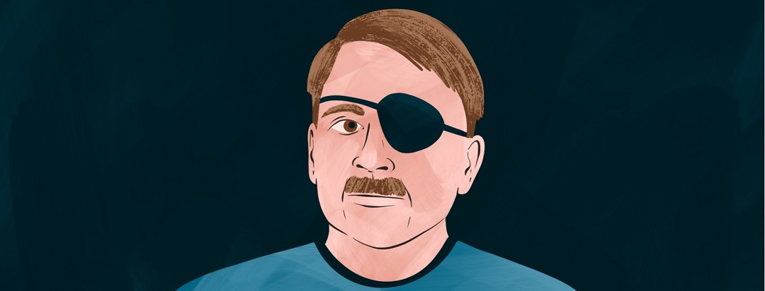 A man wearing an eye patch.