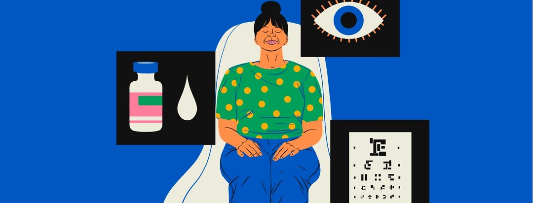 A woman relaxes with her eyes closed, sitting back in a doctor's chair. Around her are floating images of an eye exam chart, a vial with a drop of liquid, and an eye.