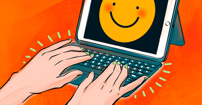 alt=A pair of hands happily type on a bluetooth keyboard attached to an iPad. A smiley face is on the screen of the tablet.