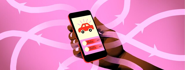 alt=A hand holding a cell phone with a ride share app open on screen. Arrows flow from the phone outward.