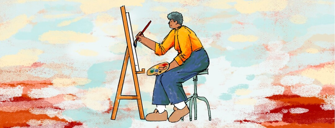 An older woman sits on a stool with a paint palette in one hand, and painting on an easel with the other.