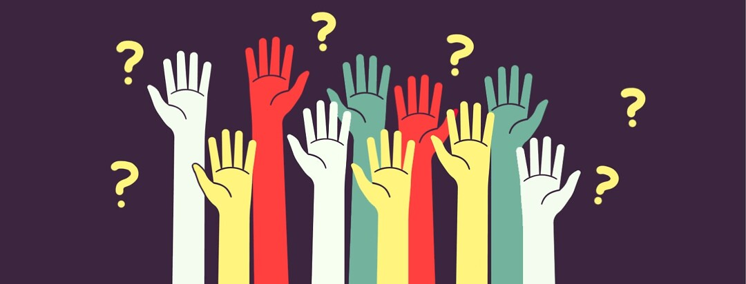 alt=Different colored hands raised in the air with question marks behind them