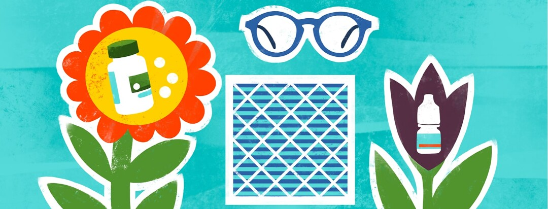 alt=flowers bloom with allergy medication and eye drops in their centers, next to eyeglasses and an air filter.