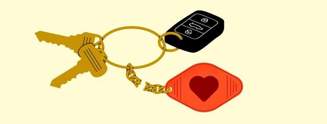 alt=A heart keychain is broken off of a key ring