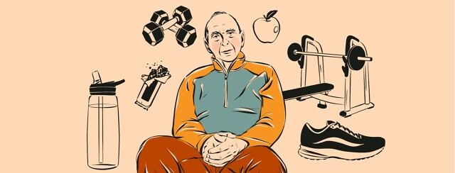 alt=an older man is surrounded by workout equipment and healthy foods.