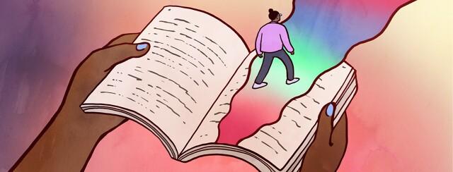 alt=a person walks across a giant book on a rainbow path leading out.