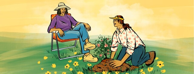 alt=a woman kneels on the ground, planting flowers. She smiles up at another woman smiling and sitting in a lawn chair.