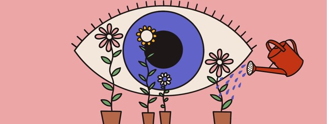 alt=watering can pours water onto flowers that are growing into parts of an eye.