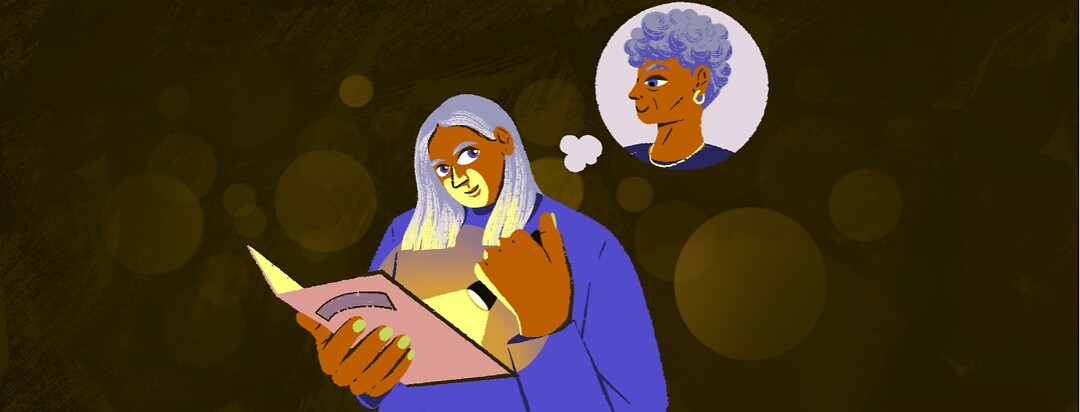 alt=a woman uses a flashlight to read a menu in a dark restaurant and looks up at an older woman in a thought bubble