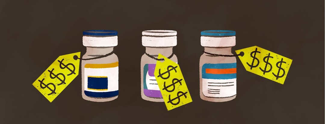 alt=3 vials of medications with high cost price tags around each