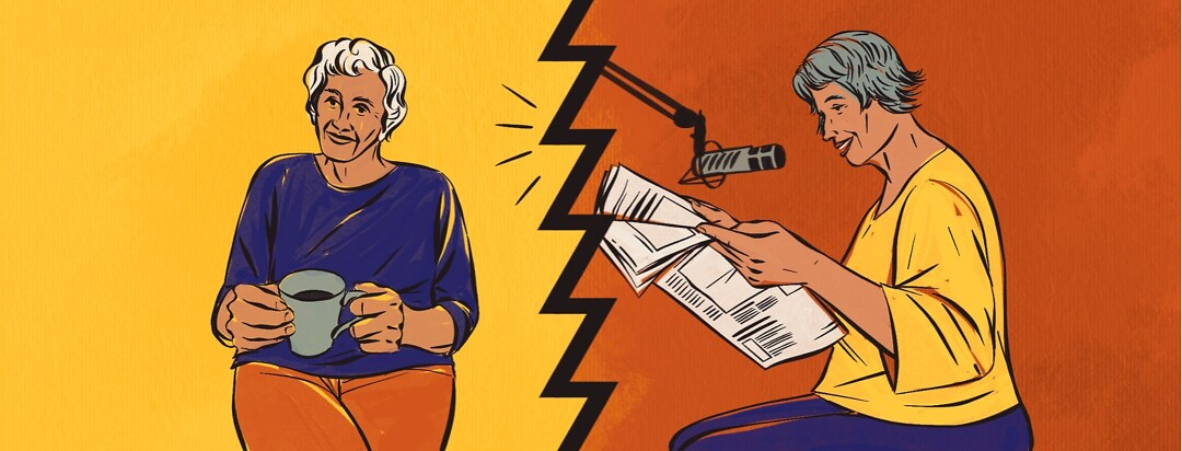 alt=a younger woman reads aloud a newspaper into a microphone, while an older woman listens to it on the radio.