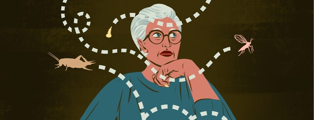 alt=an older woman watches as bugs buzz around her.