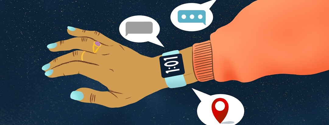 alt=an arm wearing a smart watch that brightly displays the time and speaks other information.