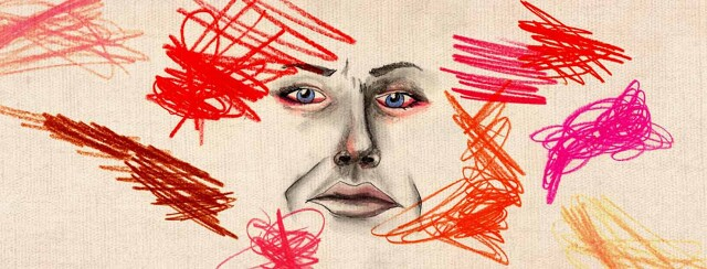 A stressed face with red-outlined eyes, surrounded by stress squiggles.