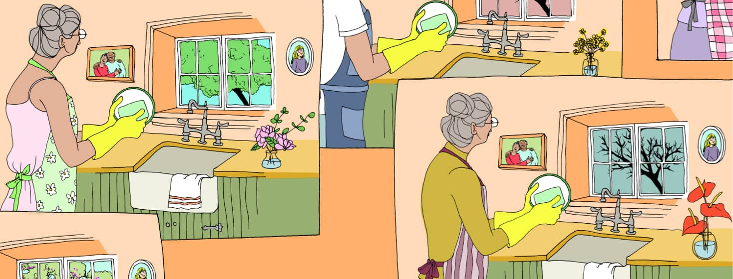 alt=a woman is doing dishes multiple times throughout the year as the seasons change out her kitchen window