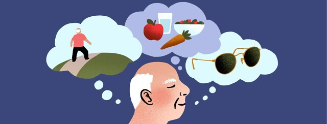 alt=A man thinks of various methods of maintaining his AMD diagnosis. Inside three thought bubbles are scenes of him exercising outdoors, choosing healthy foods, and wearing sunglasses.