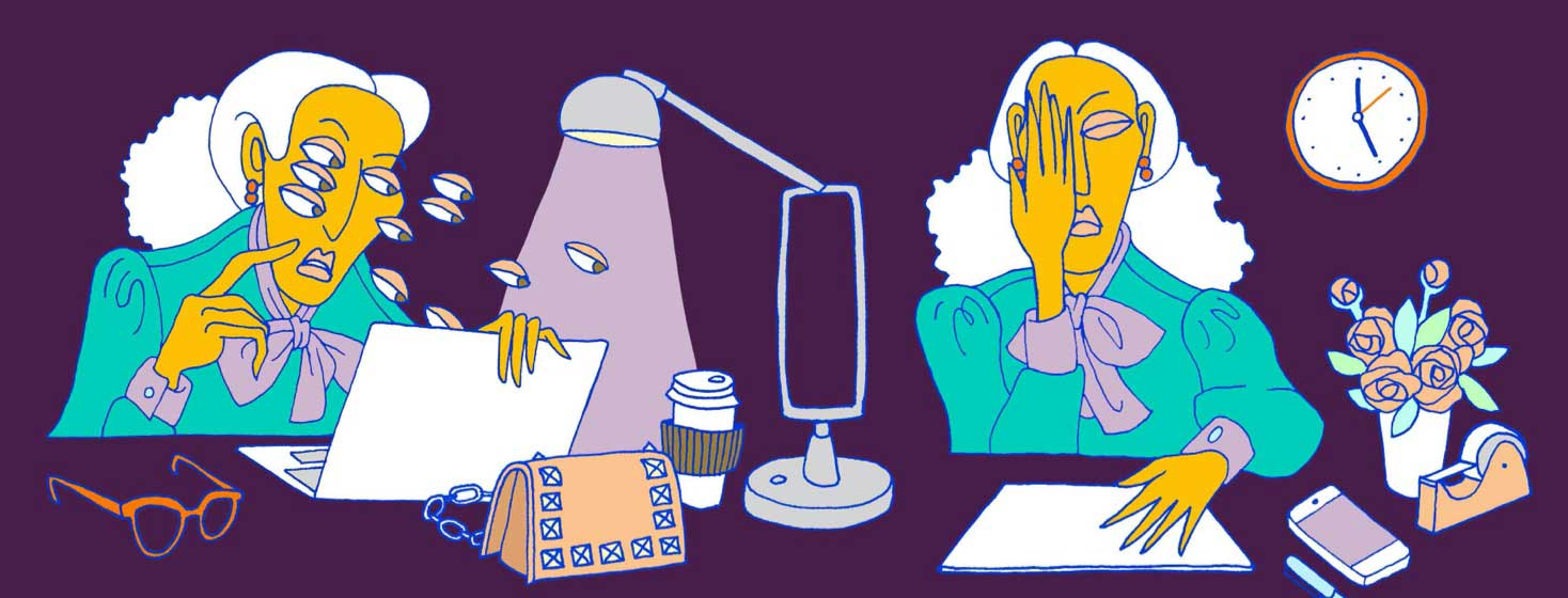 a woman at her desk is struggling with double vision affecting her work.