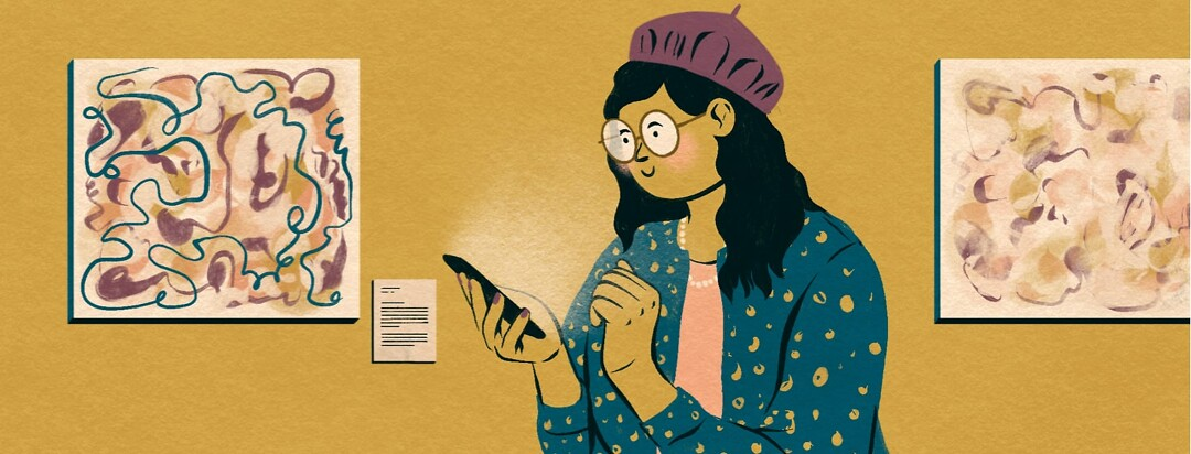 alt=a woman in a museum uses her cellphone to circumvent vision challenges.