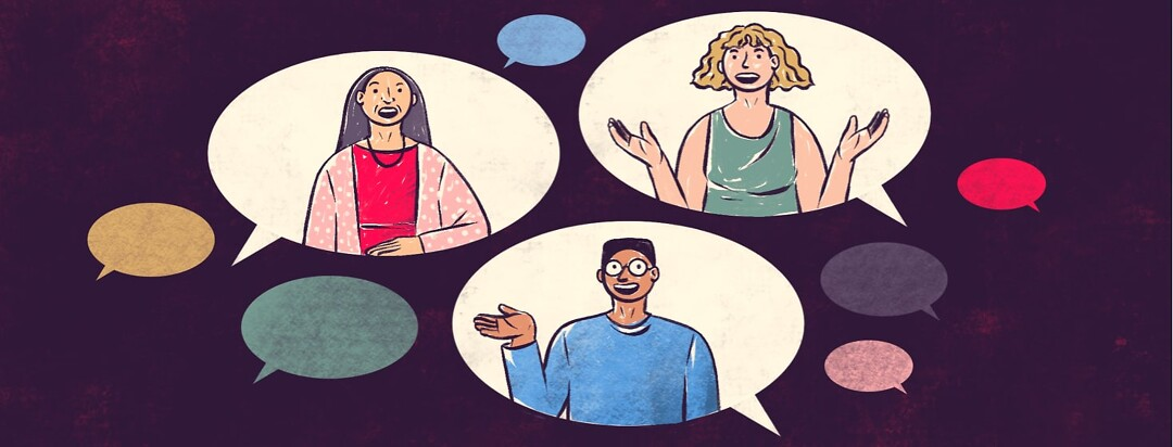 alt=three community members are interviewed in speech bubbles.