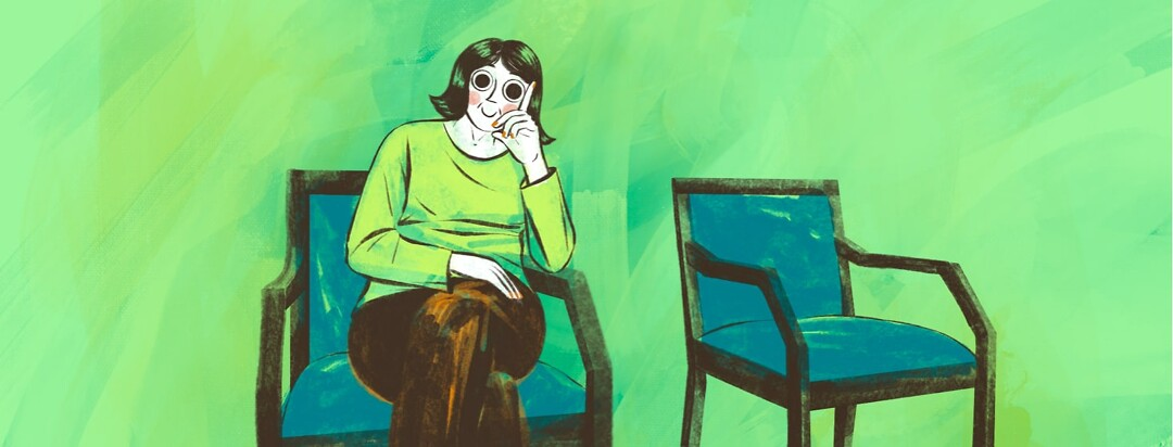 alt=a woman with large eyes sits in a waiting room.